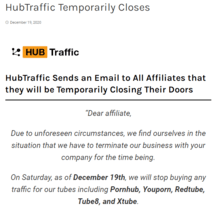 HubTraffic Sends an Email to All Affiliates that they will be Temporarily Closing Their Doors